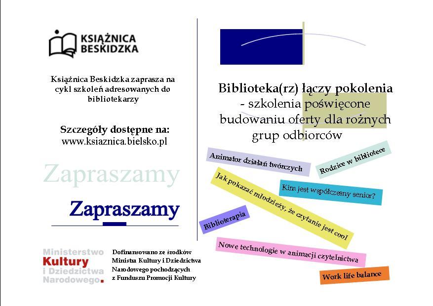 Dofinansowanie na realizację cyklu szkoleń w ramach programu Partnerstwo dla Książki 2020.