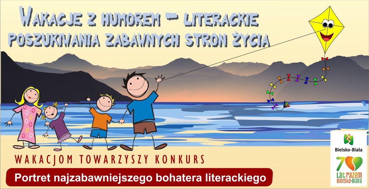 Baner promujący wakacje w bibliotece.